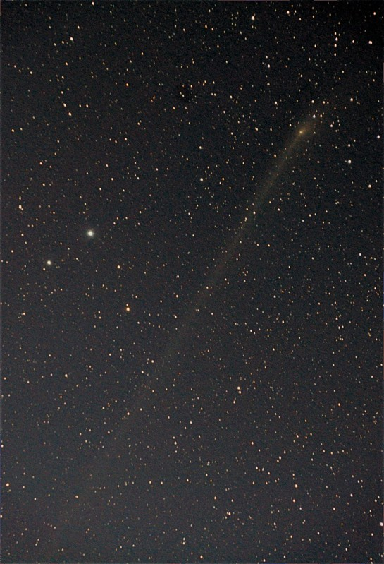"PANSTARRS passing Mag 4.3 Yildun and its Mag 5.8 partner ""24 Ursa Minor"". Yildun is the next star to Polaris in the tail of Ursa Minor. 200mm f/5.6, ISO 3200 7x3min."