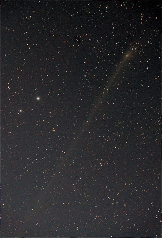 "PANSTARRS passing Mag 4.3 Yildun and its Mag 5.8 partner ""24 Ursa Minor"". Yildun is the next star to Polaris in the tail of Ursa Minor. 200mm f/5.6, ISO 3200 7x3min."