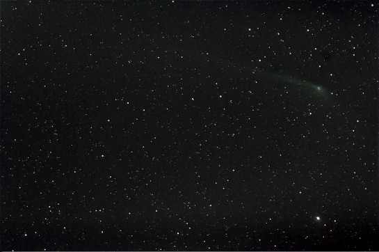 300mm f/5.6, ISO 400, 11 x 5 min. Stacked on stars and comet.