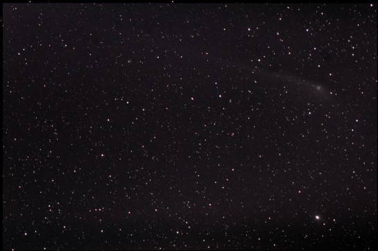 300mm f/5.6, ISO 400, 11 x 5 min. 11 frames stacked in DSS on the stars alone.