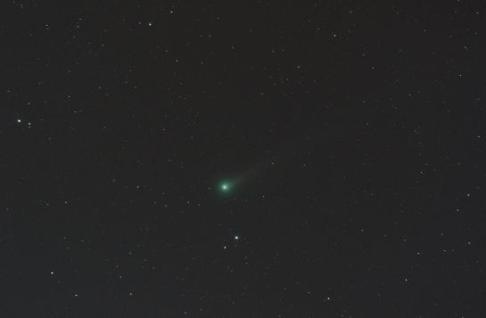 Comet C/2013 R1 (Lovejoy) 300mm f/5.6, ISO 400 180 seconds. 12 frames of 15 seconds.