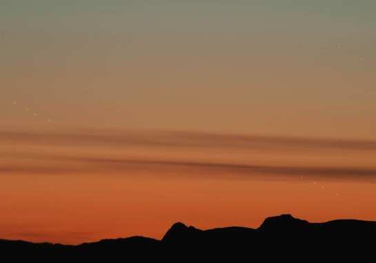Jupiter, Venus, Mercury over the Langdales
