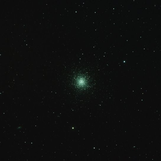 18 April 2014: Globular cluster M13 from Tebay Road. Altair Wave 115/805, ISO 1250, 8 minutes. 16 frames of 30 seconds.
