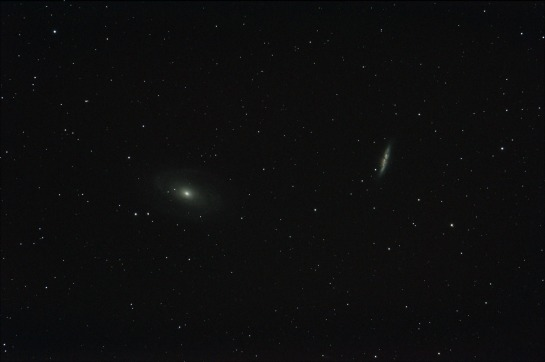 17 April 2014: Galaxies M81 and M82 805mm f/7, ISO 800, 4 minutes. 4 frames of 1 minute.