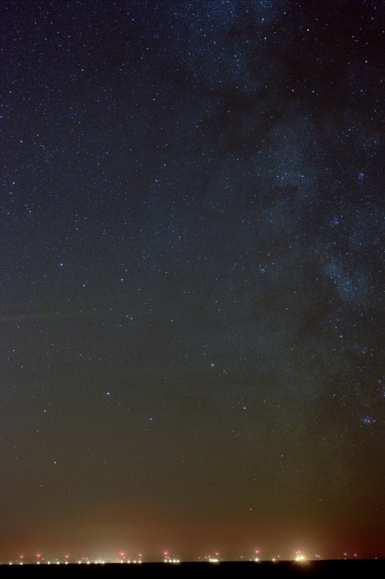 26 April 2014: The Milky Way from Silecroft. 50mm f/4 ISO 800, 150 sec. 5 frames of 30 sec.