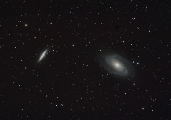 M82 and M81 Nikon D90 on Altair Wave 115/805 (f/7), ISO 400 50 minutes: 5 frames of 10 minutes each.