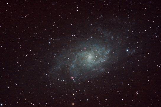 M33 The Triangulum Galaxy 58 frames of 150 sec, ISO 800, Nikon D90 through 805mm focal length telescope, f/7
